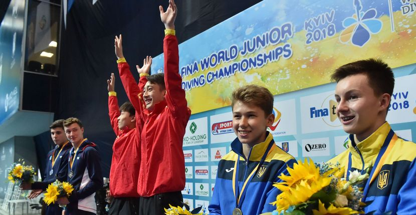 Jr.Diving Worlds 2018, Kyiv, Day 7: Hosts celebrate the first bronze